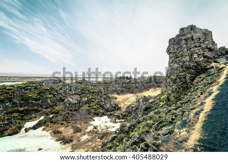 Rocky landscape at the Thingvellir national park in Iceland