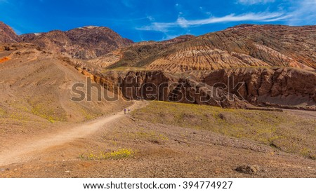 Rocky landscape background. Natural bridge canyon trail, Death Valley