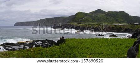 Rocky landscape of coastline at Sao Miguel island, Azores, Portugal - stock photo