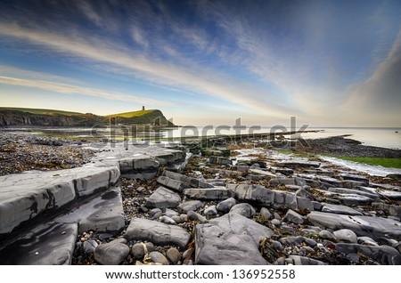 Rocky ledges at Kimmeridge bay on the Jurassic Coast in Dorset - stock photo
