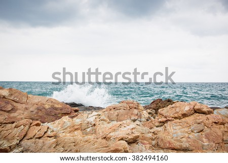 Rocky mountain and ocean background.