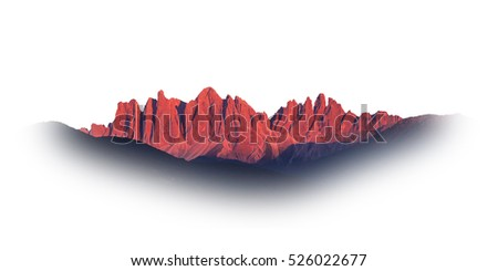 rocky mountain at sunset isolated