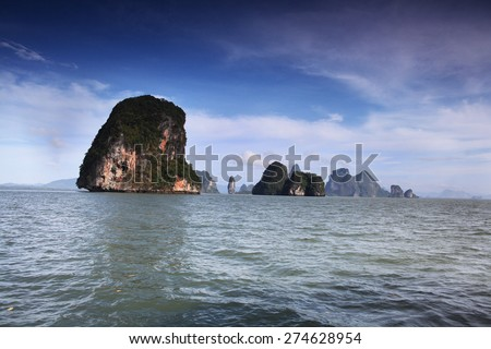 rocky mountain landscape of the island in the sea