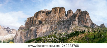 Rocky Mountains at sunset.Dolomite Alps, Italy  - stock photo