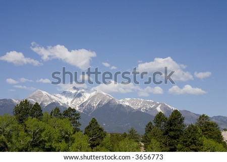 rocky mountains in summer - stock photo