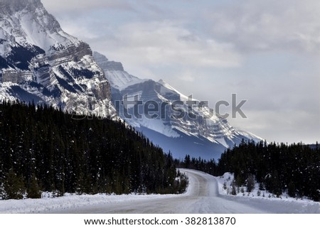 Rocky Mountains in Winter Canada Icefields Parkway