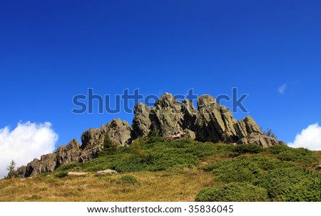 rocky mountains landscape with a clear blue sky