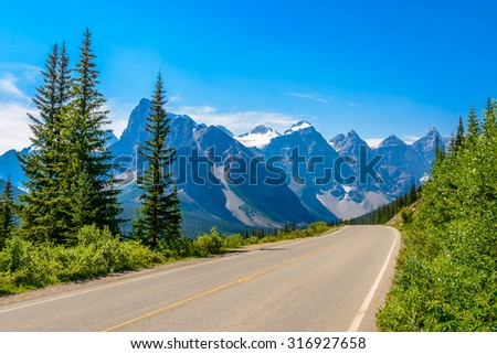 Rocky Mountains. Mountain Road in Alberta, Canada. - stock photo