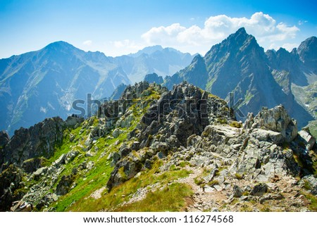 Rocky mountains view seen from Lomnicke sedlo in High Tatras, Slovakia - stock photo