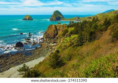 Rocky Oregon Pacific Coast Sunny Landscape. Oregon, United States. - stock photo