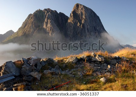 Rocky peaks in mountains of Norway