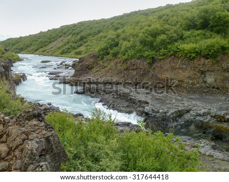 rocky river scenery in Iceland