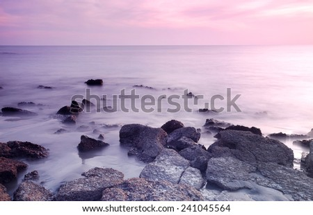 Rocky Saint Martins Island of Bangladesh at sunset - stock photo