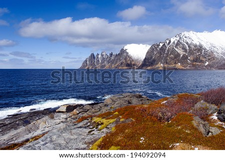 rocky sea coast at viewpoint at Devils teeth, Tungeneset, Senja