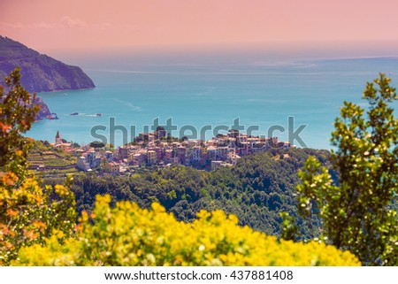 Rocky sea coast. Ligurian sea, Monterossa Village, Cinqe Terre, Italy