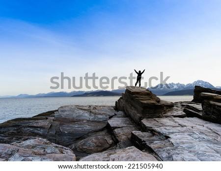 rocky sea coast ,Norway ,Oldevik - stock photo