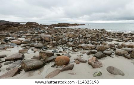 Rocky seashore in Rockport, Massachusetts on Cape Ann. - stock photo