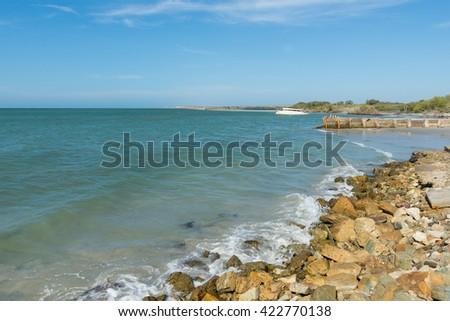 Rocky shore at Margarita Island, on the Caribbean Sea - stock photo