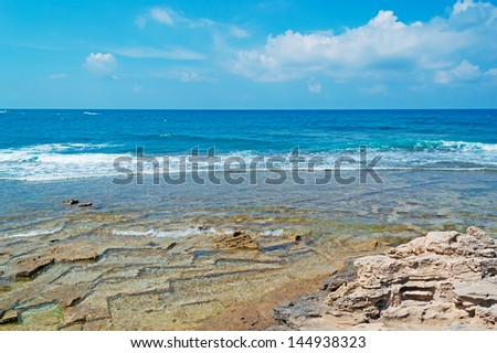 rocky shore in Is Arutas, Sardinia