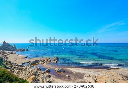 rocky shore in Rena Majore, Sardinia - stock photo