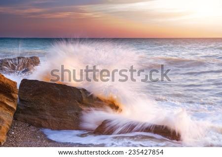 Rocky shore on sea. Summer's seascape - stock photo