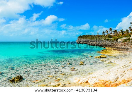 Rocky shoreline on the island Eleuthera on the Bahamas