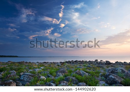 Rocky shores at the see - stock photo
