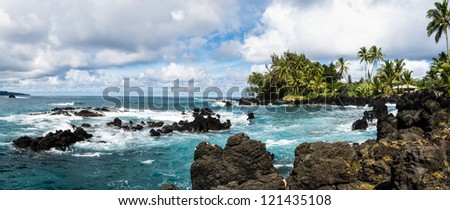 "Rocky shores of Hawaii, on the famed ""Road to Hana"" - stock photo"