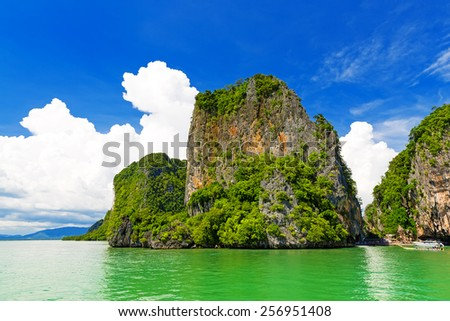 Rocky tropical landscape in the Pang Nga bay, Thailand - stock photo
