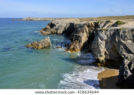 Rocky wild coast of Quiberon peninsula in the Morbihan department in Brittany in north-western France - stock photo