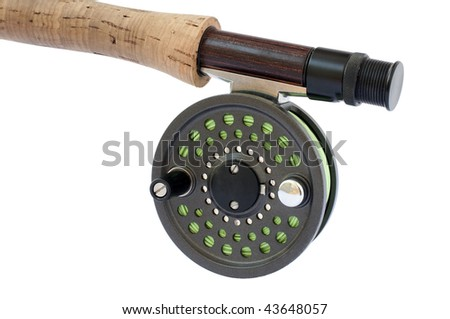 Rod and reel for 4 weight fishing rod - stock photo