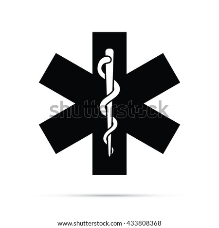 Rod of Asclepius Medical Symbol Icon.  Raster Version - stock photo