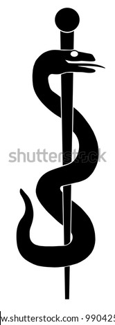 Rod of Asclepius Snake Coiled Up Silhouette Isolated on White Background Illustration - stock photo