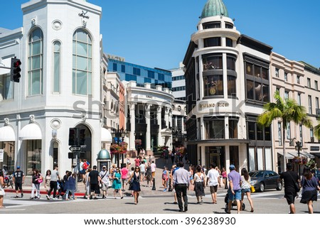 Rodeo Drive Beverly Hills Ca March Stock Photo 396238930