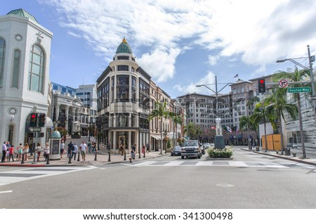 Rodeo drive, Los angeles, CA. 15th october, 2015. Rodeo drive street. It is is a two-mile long street, primarily in Beverly Hills, California. - stock photo