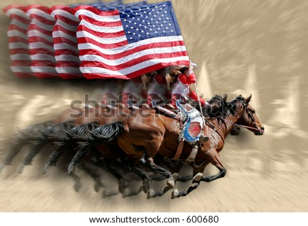 Rodeo Queens & Flags (special effect against sepia background). - stock photo
