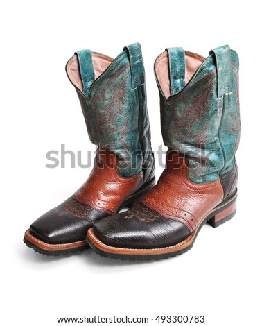 Rodeo style cowboy boots on white background