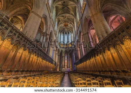 RODEZ, FRANCE - JUNE 05 2015: Red sandstone Rodez Cathedral (Cathedrale Notre-Dame de Rodez) in Aveyron department of Midi Pyrenees, France