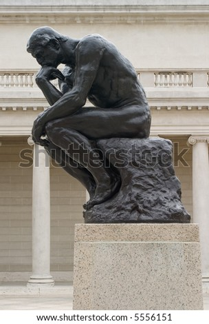 Rodin's thinker from the side - stock photo