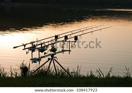rods in the sunset on the lake, close-up, landscape image