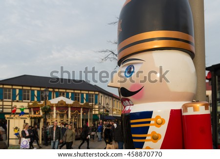 ROERMOND, NETHERLANDS - DECEMBER 20, 2015: Large nutcracker close up at the fashion designers outlet in roermond