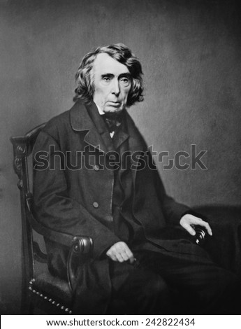 Roger B. Taney (1777-1864), fifth Chief Justice of United States Supreme Court from 1836 through 1864 was appointed by Andrew Jackson. He wrote the majority opinion in Dred Scott v. Sandford (1857). - stock photo