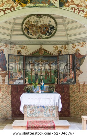 Rohrmoos, Germany - August 2014: Interior view of St Anna chapel