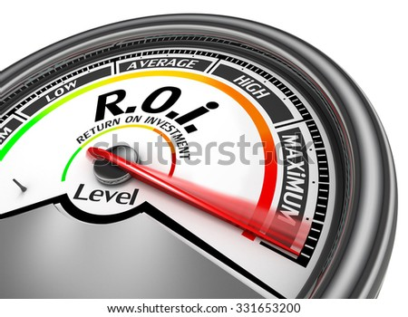 Roi level to maximum conceptual meter for return on investment - stock photo