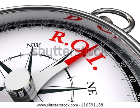 roi red word on concept compass symbol return on investment on white background - stock photo