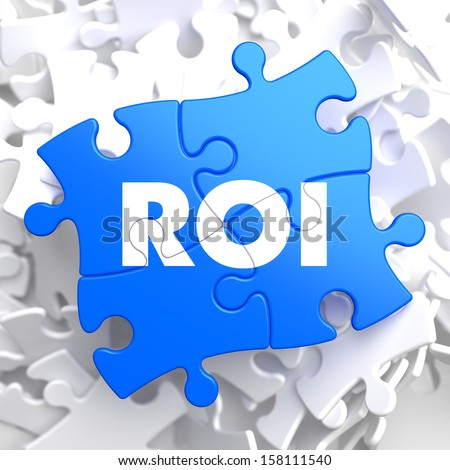 ROI - Return Of Investment - Written on Blue Puzzle Pieces. Business Concept. - stock photo