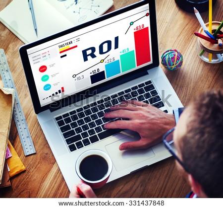 Roi Return On Investment Analysis Finance Concept - stock photo