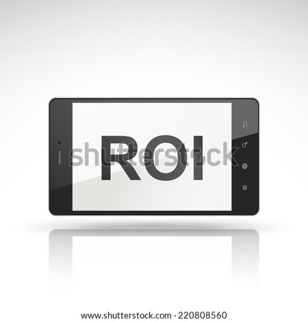 ROI word on mobile phone isolated on white - stock photo