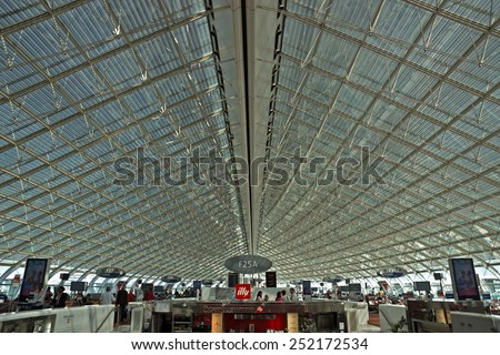 ROISSY, FRANCE - JUNE 12, 2014: Interior view of Charles de Gaulle airport. Airport is one of largest airports in Europe. Named in honor of Charles de Gaulle, President of France. - stock photo