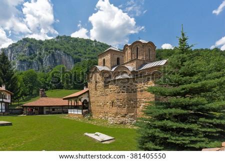 Roks and Poganovo Monastery of St. John the Theologian and Erma River Gorge, Serbia - stock photo